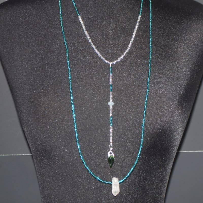 Emerald and Crystal Boho Necklace - Handmade