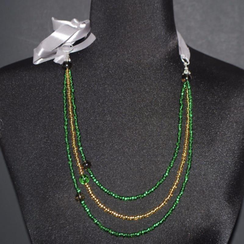 Emerald and Gold Boho Necklace - Handmade