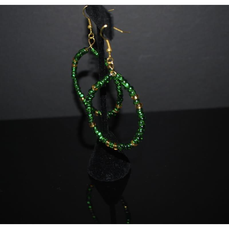 Emerald And Gold Czech Ascent Hoops Earrings - Handmade