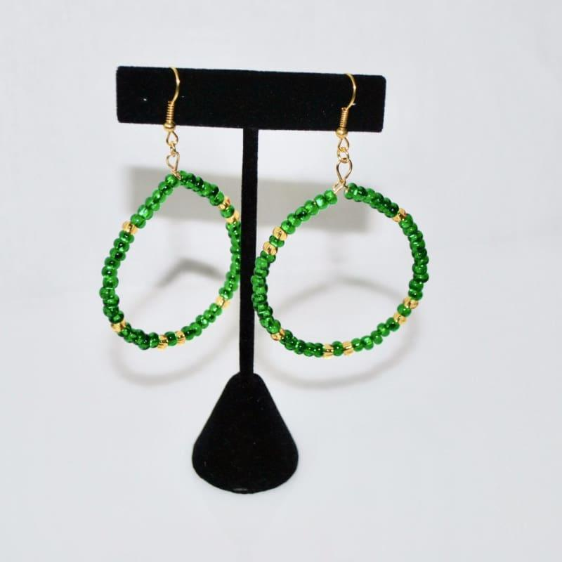 Emerald And Gold Czech Ascent Hoops Earrings - TeresaCollections