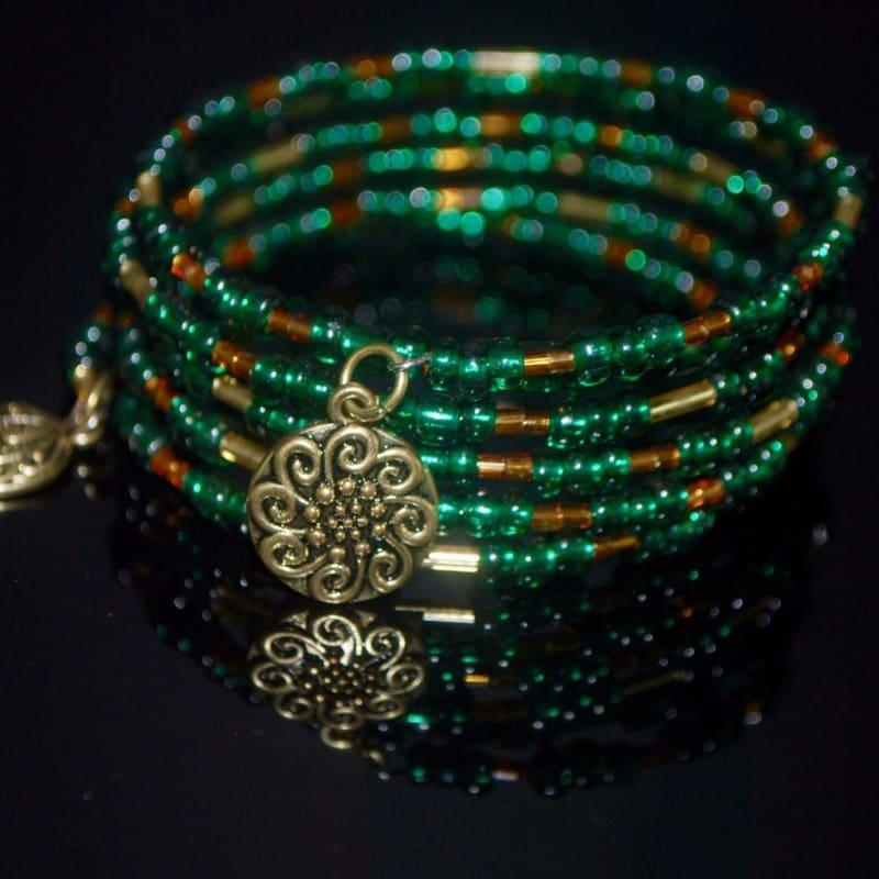 Emerald And Gold Memory Wire Wrap Bracelets - Handmade