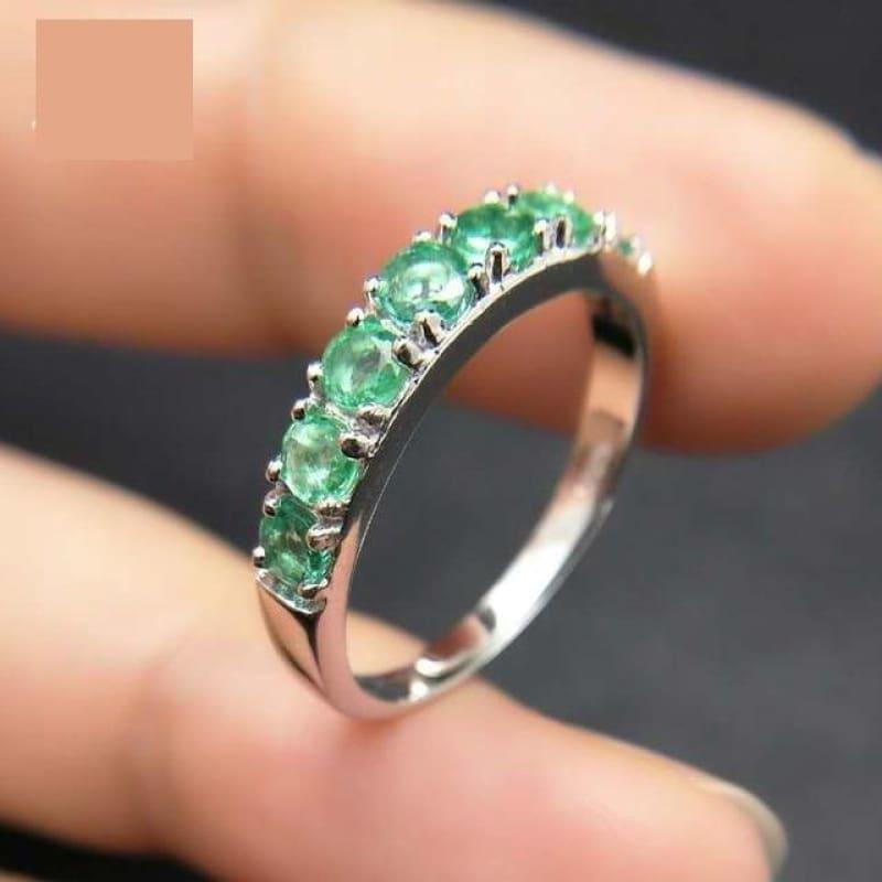 Emerald Gemstone 925 Sterling Silver Fine Jewelry Ring - Green / Resizable - ring