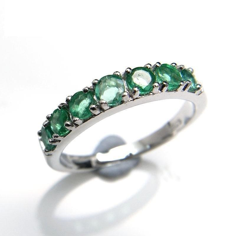 Emerald Gemstone 925 Sterling Silver Fine Jewelry Ring - ring
