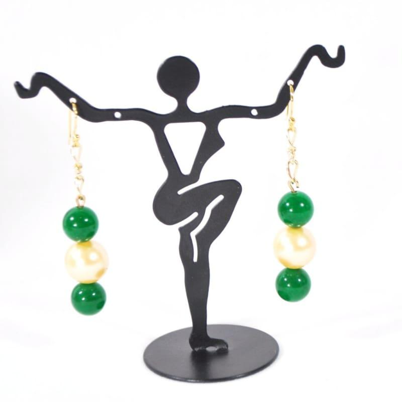 Emerald Green With Yellow Shell Dangle Earrings - Earrings