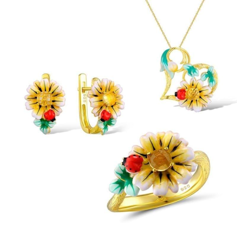 Enamel Sunflower Ring Earrings Pendent Necklace 925 Sterling Silver Fashion Jewelry Set - 7.25 - jewelry set