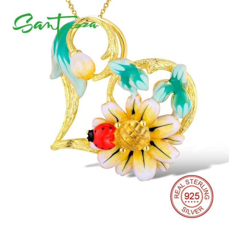 Enamel Sunflower Ring Earrings Pendent Necklace 925 Sterling Silver Fashion Jewelry Set - jewelry set