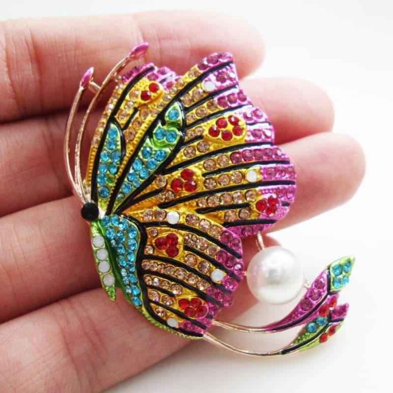 Exquisite Butterfly Woman Pearl Brooch Pin Multi-color Rhinestone Crystal Party - Brooch