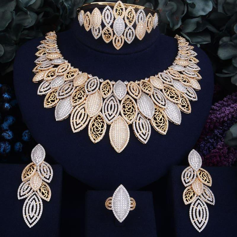 Exquisite Super Luxury Leaves Cubic Zirconia 4pcs Necklace Earring Ring Bangle Dubai Jewelry Set - Resizable - Jewelry Set