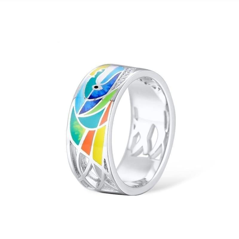 Face Rings for Women Shiny White CZ Colorful Enamel Ring - Rings
