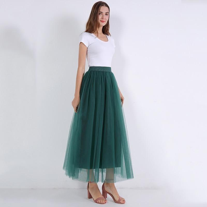 Fairy Style Four Layers Voile Tulle Skirt Lace Princess Long Tutu Skirts - TeresaCollections