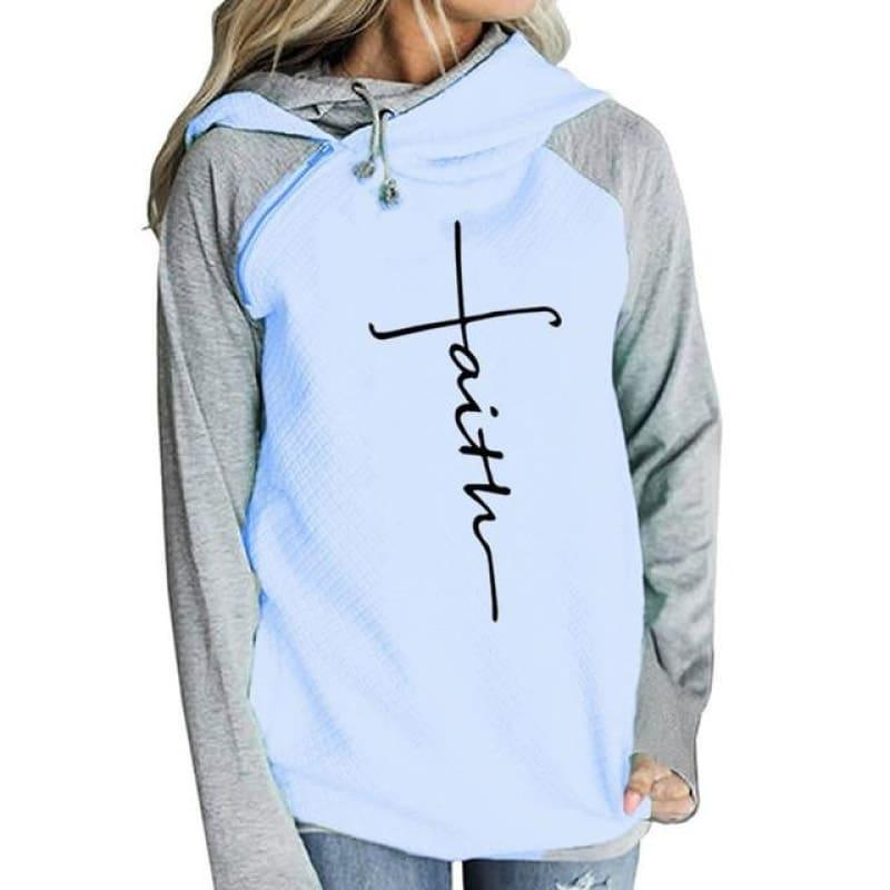 Faith Print Shirt Hooded Women's T-Shirt - TeresaCollections