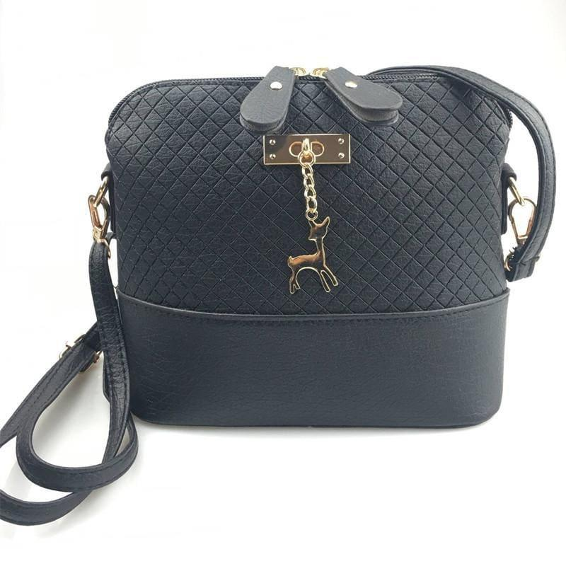 Fashion Mini Bag With Deer Toy Shell Shape Small Messenger Crossbody HandBag - Black - HandBag