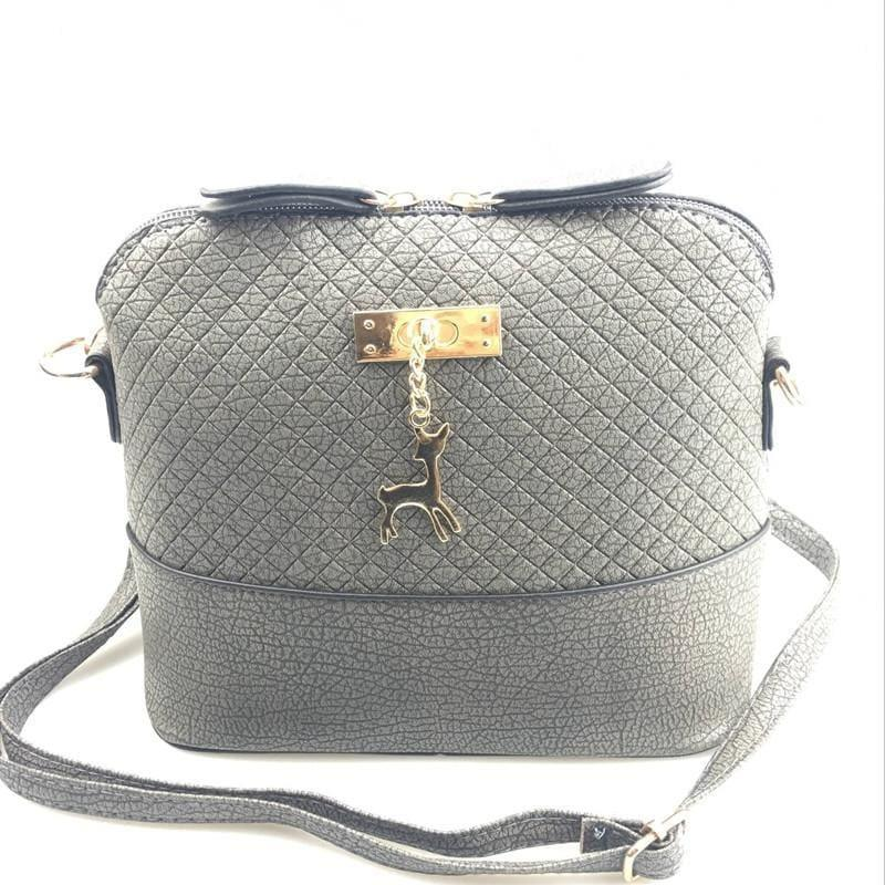 Fashion Mini Bag With Deer Toy Shell Shape Small Messenger Crossbody HandBag - Gray - HandBag