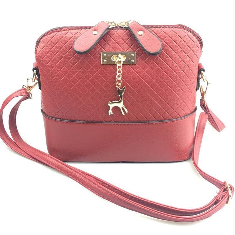 Fashion Mini Bag With Deer Toy Shell Shape Small Messenger Crossbody HandBag - Red - HandBag