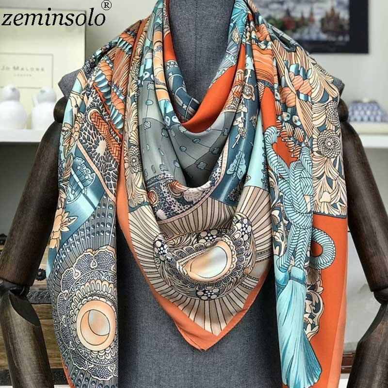 Fashion Square Silk Foulard Printed Bandana Scarf - TeresaCollections