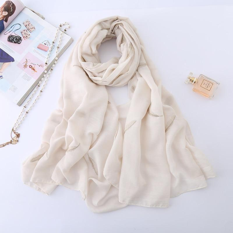 Feather Embroidery Cotton Scarf - Beige - scarf