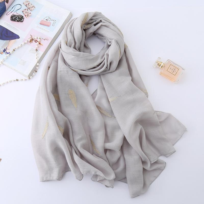 Feather Embroidery Cotton Scarf - TeresaCollections