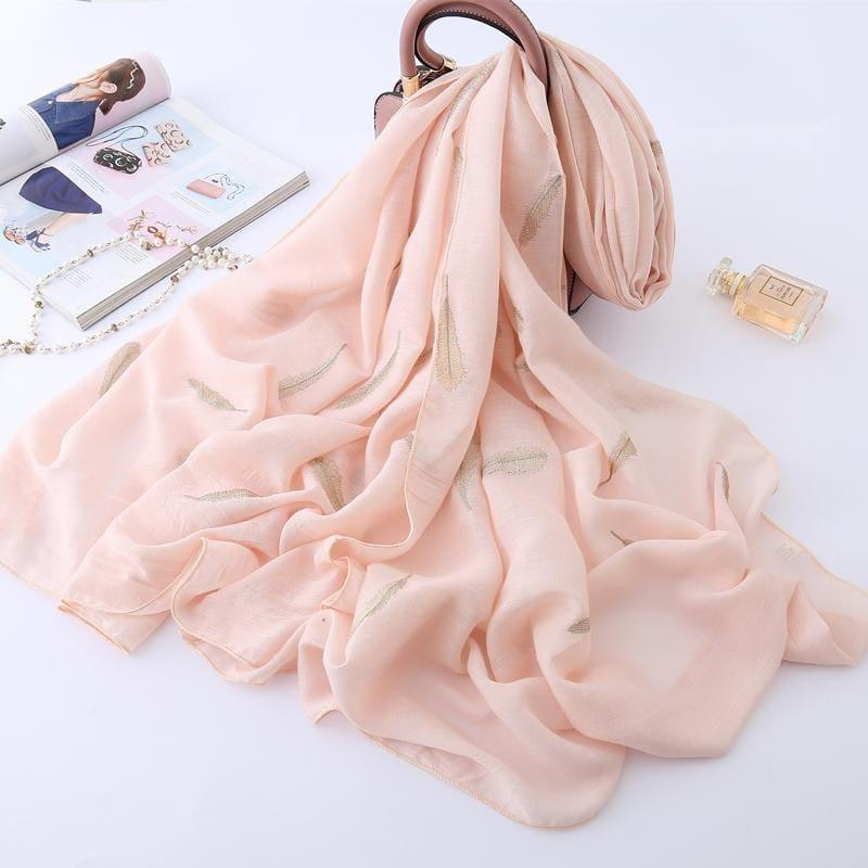 Feather Embroidery Cotton Scarf - Pink - scarf