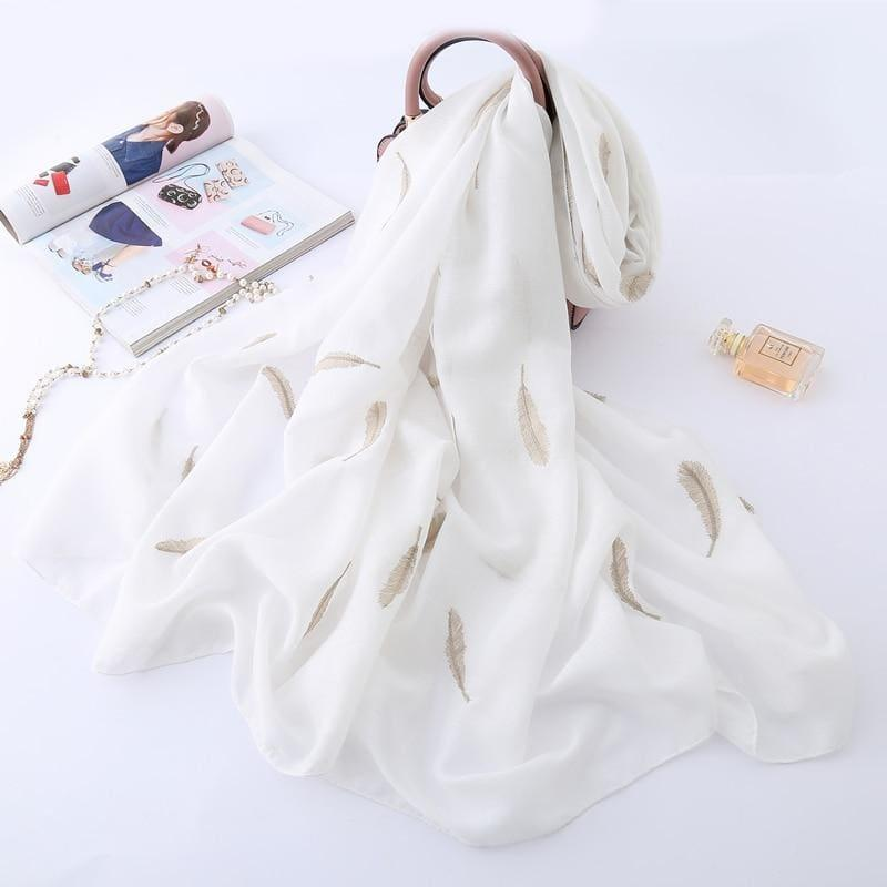Feather Embroidery Cotton Scarf - White - scarf