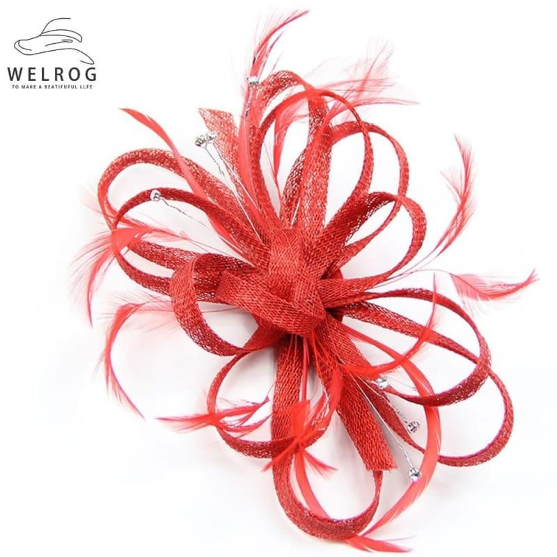 Feather Ribbon Cocktail Wedding Bride Fedora Hat - Hat