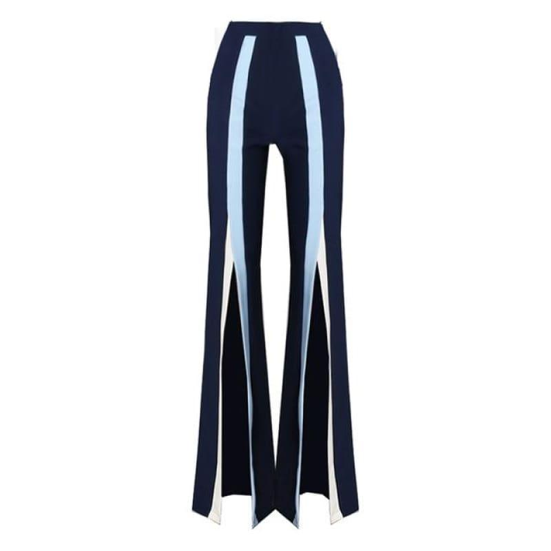 Flare Elastic Striped Split X Long Trousers - Blue / L - pants