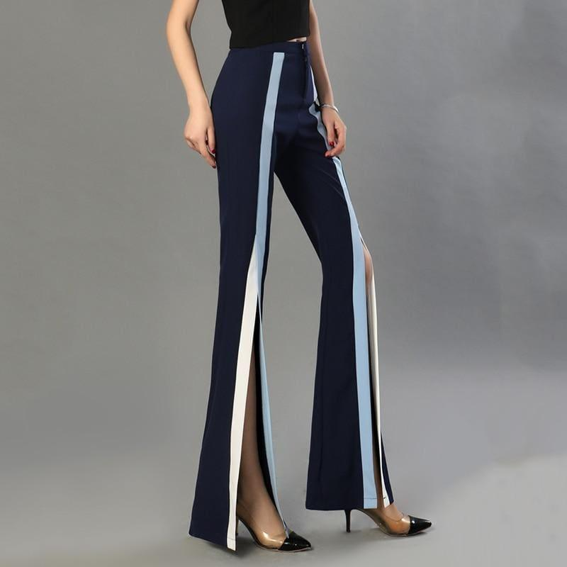 Flare Elastic Striped Split X Long Trousers - pants