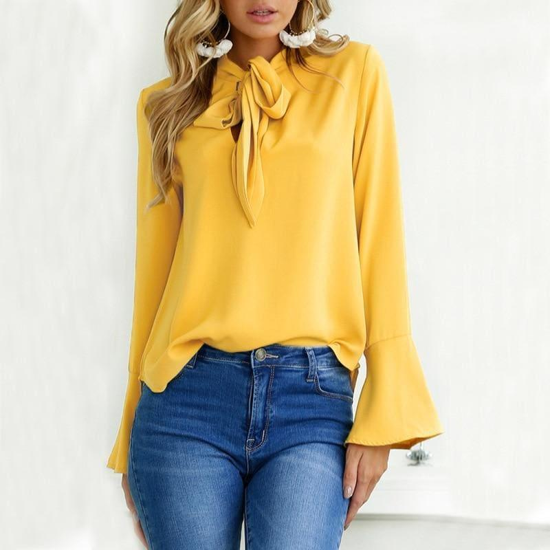 Flare Long Sleeve Chiffon Bow Ruffle Blouse - TeresaCollections