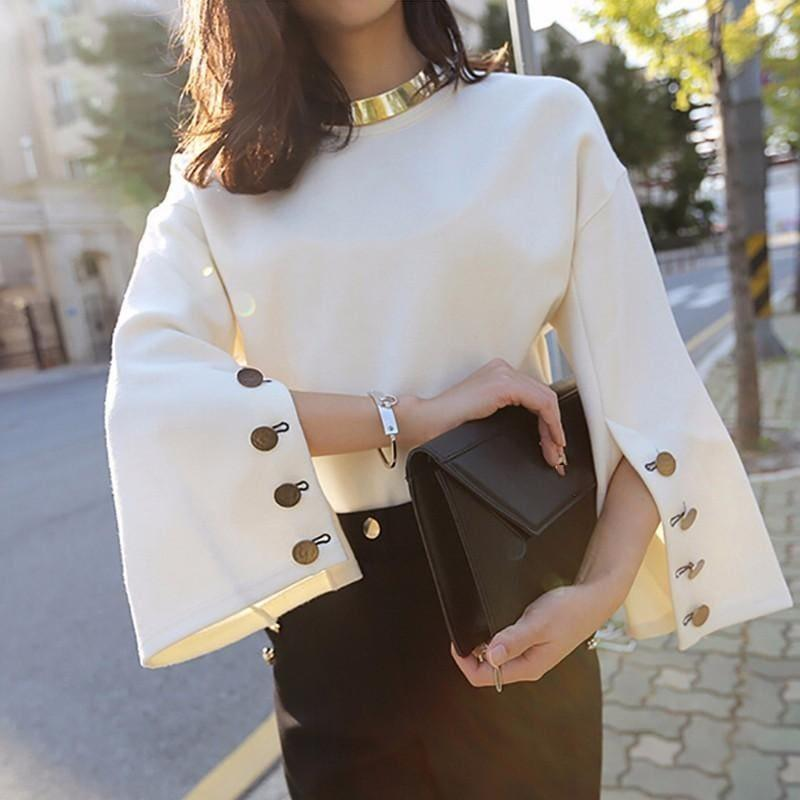 Flare Sleeve Split O Neck With Necklace White Pullover Blouse - TeresaCollections