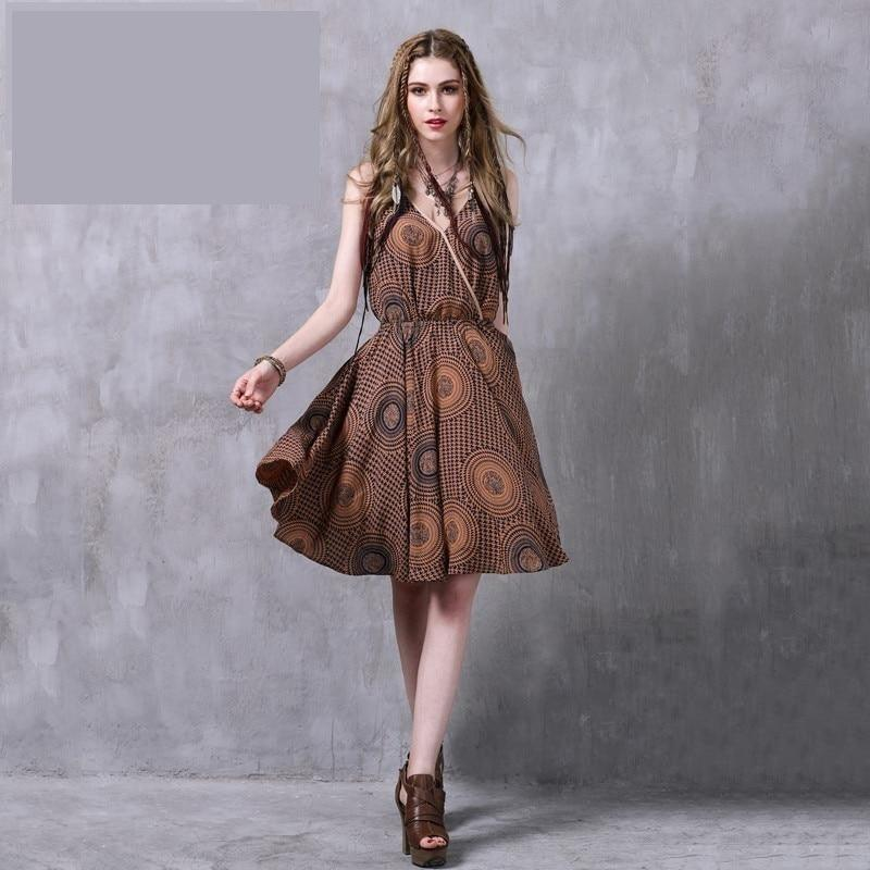 Floral Print Elastic Waist A-line Women Dress
