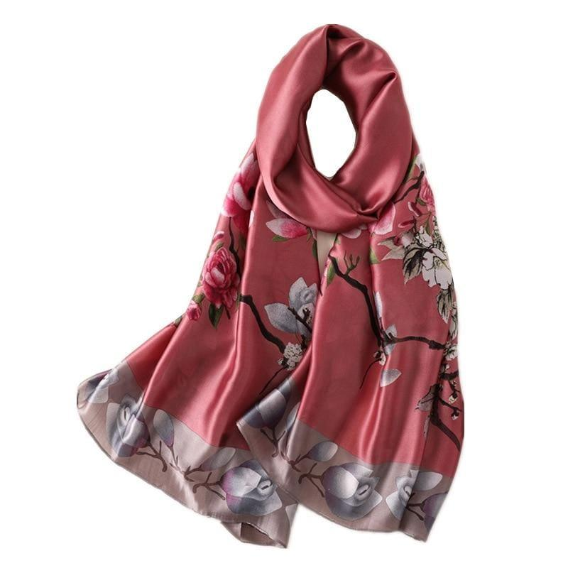 Floral Print Silk Scarf - TeresaCollections