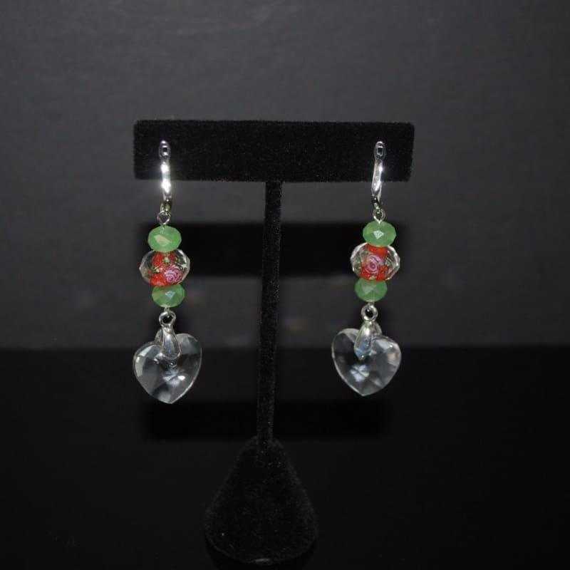 Flower Glass Lampwork Dangle Earrings - Earrings