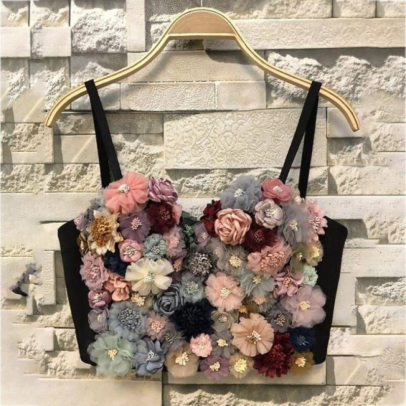 Flower Patchwork Sexy Vest Sleeveless Hit Colors Strapless Crop Top - as picture / L - Sleeveless