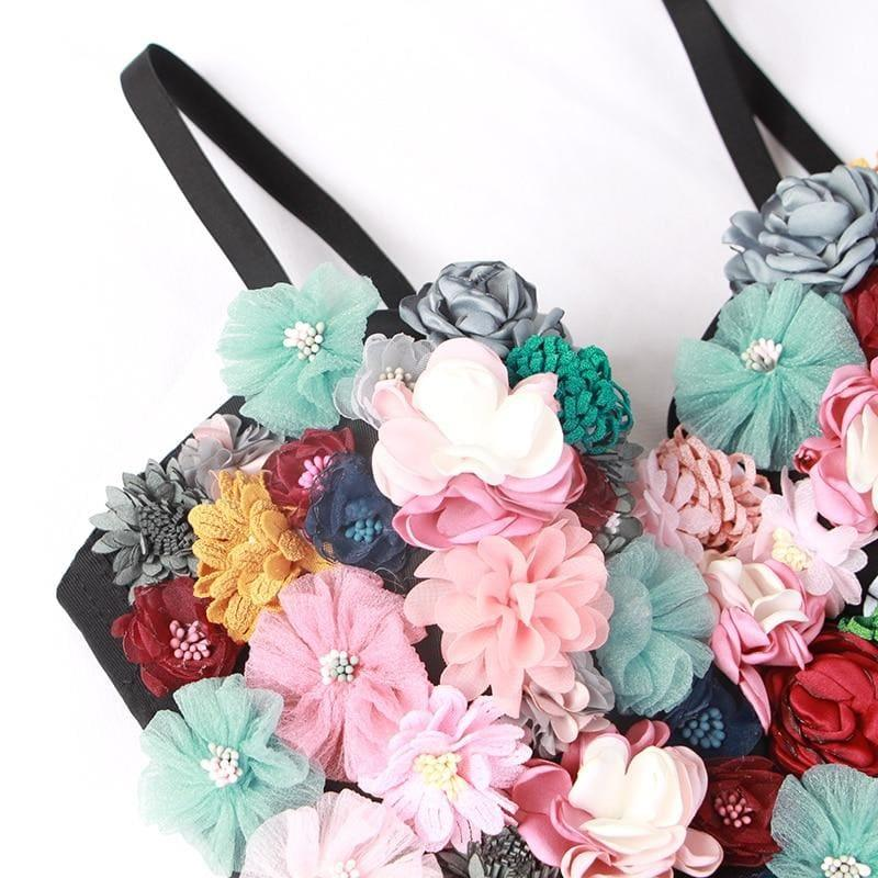 Flower Patchwork Sexy Vest Sleeveless Hit Colors Strapless Crop Top - Sleeveless