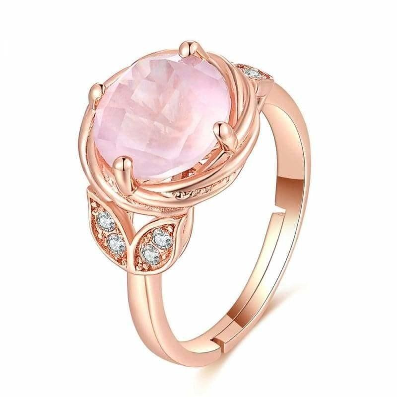 Flower Pink Rose Quartz 925 Sterling Silver Adjustable Rings - Ring