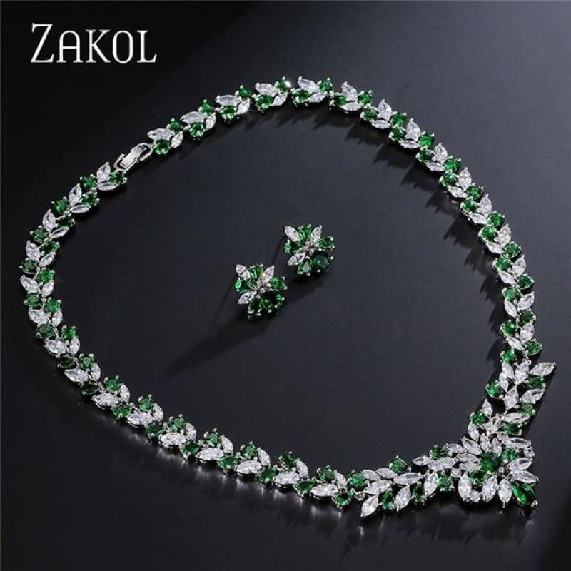 Flower Shape Cubic Zircon Necklace Earrings Classic Wedding Jewelry Sets - Green - Jewelry Set