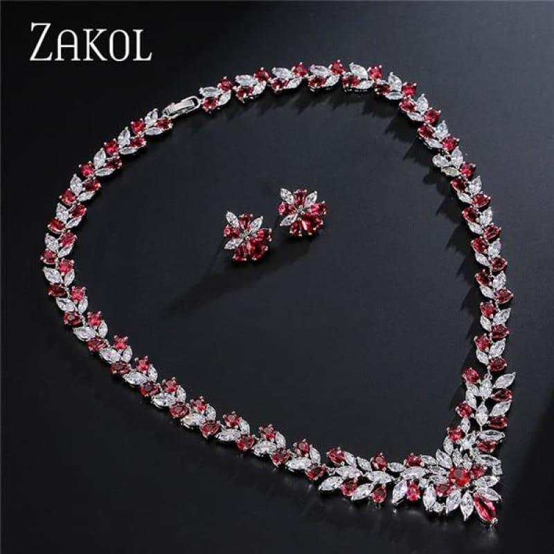 Flower Shape Cubic Zircon Necklace Earrings Classic Wedding Jewelry Sets - Red - Jewelry Set