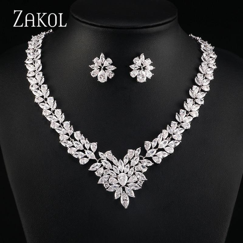 Flower Shape Cubic Zircon Necklace Earrings Classic Wedding Jewelry Sets - Jewelry Set