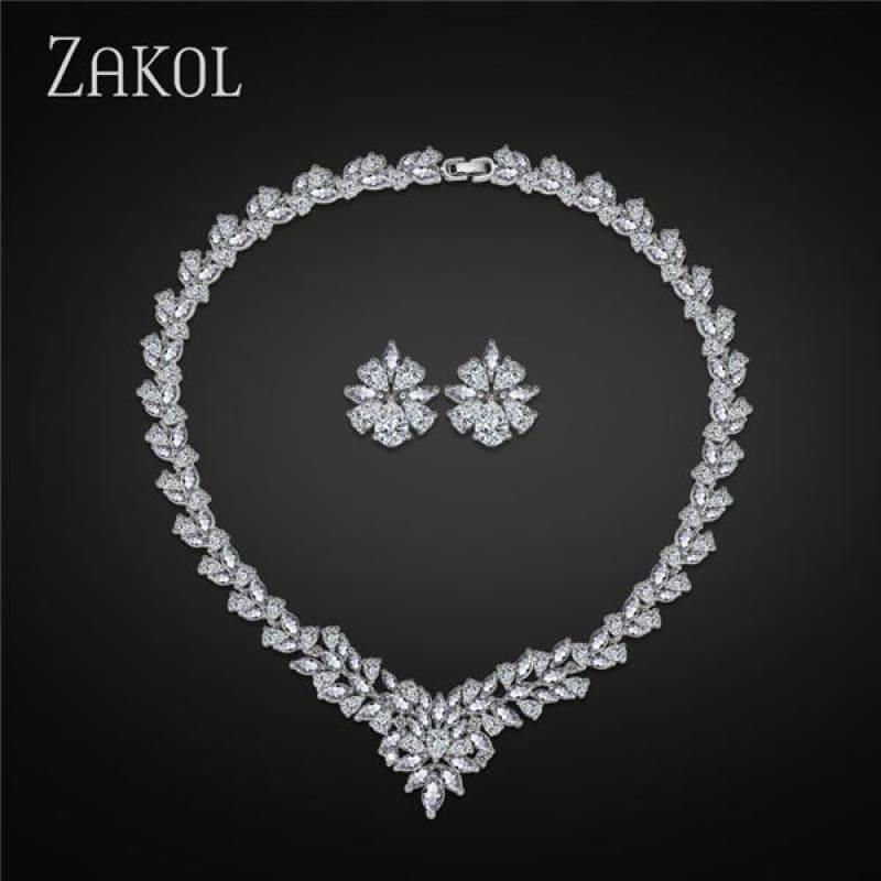 Flower Shape Cubic Zircon Necklace Earrings Classic Wedding Jewelry Sets - White - Jewelry Set