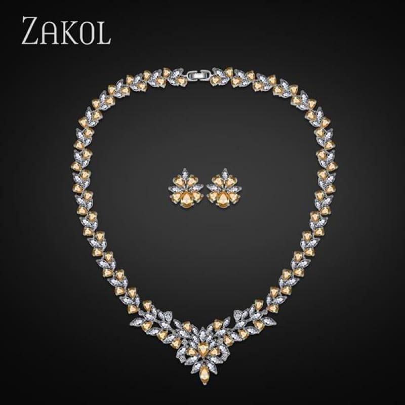 Flower Shape Cubic Zircon Necklace Earrings Classic Wedding Jewelry Sets - Yellow - Jewelry Set