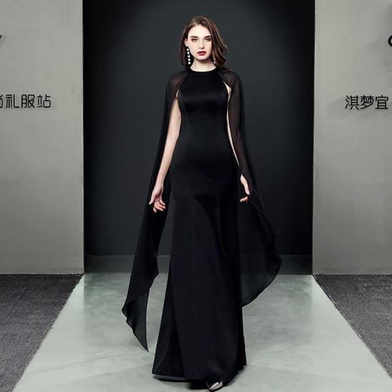 Formal Cheongsam Sexy Long Qipao Evening Dress - black / S - Gown