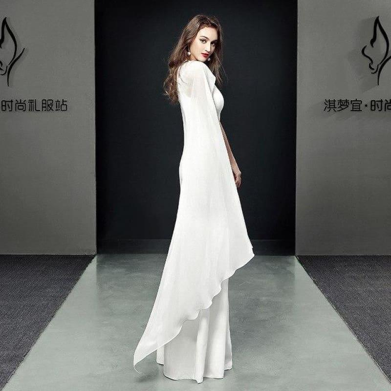 Formal Cheongsam Sexy Long Qipao Evening Dress - white / S - Gown