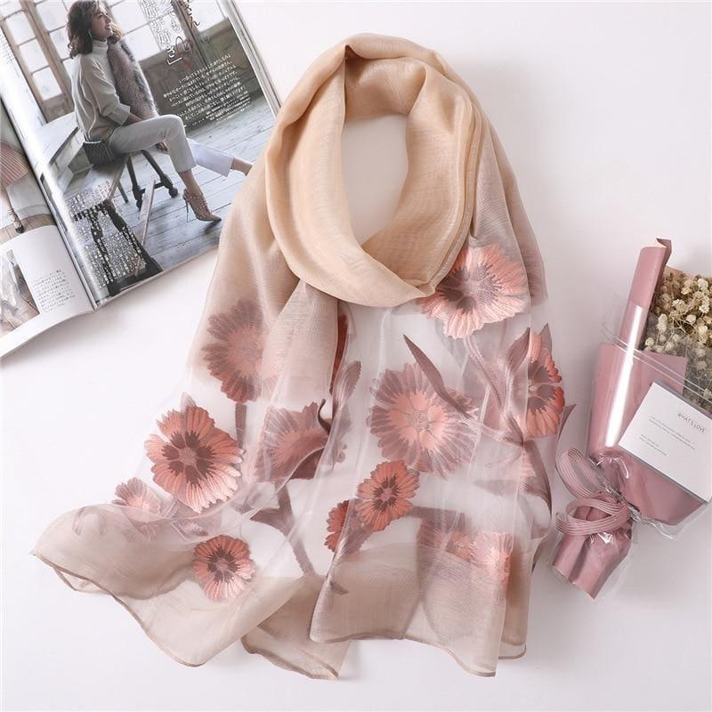 Foulard Soft Silk Scarf - TeresaCollections