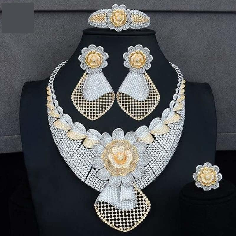 Four PCS African Lariat Wedding Cubic Zircon Crystal CZ Indian Gold Bridal Jewelry Sets - Bicolor / Resizable - Jewelry Set