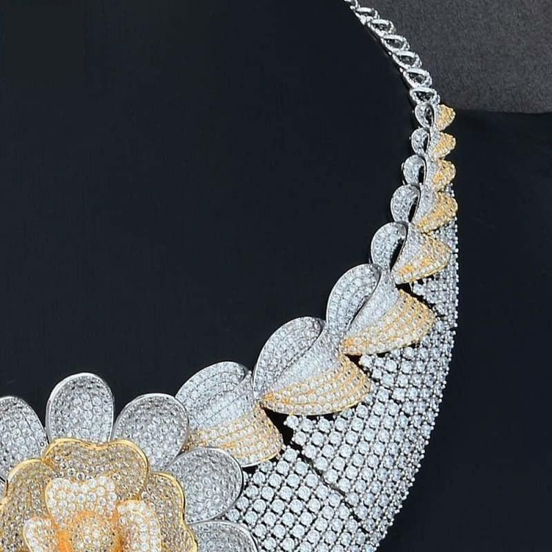 Four PCS African Lariat Wedding Cubic Zircon Crystal CZ Indian Gold Bridal Jewelry Sets - Jewelry Set