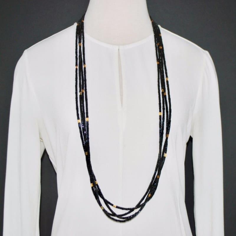 Four Strands Black Gold Ascent Necklace - TeresaCollections