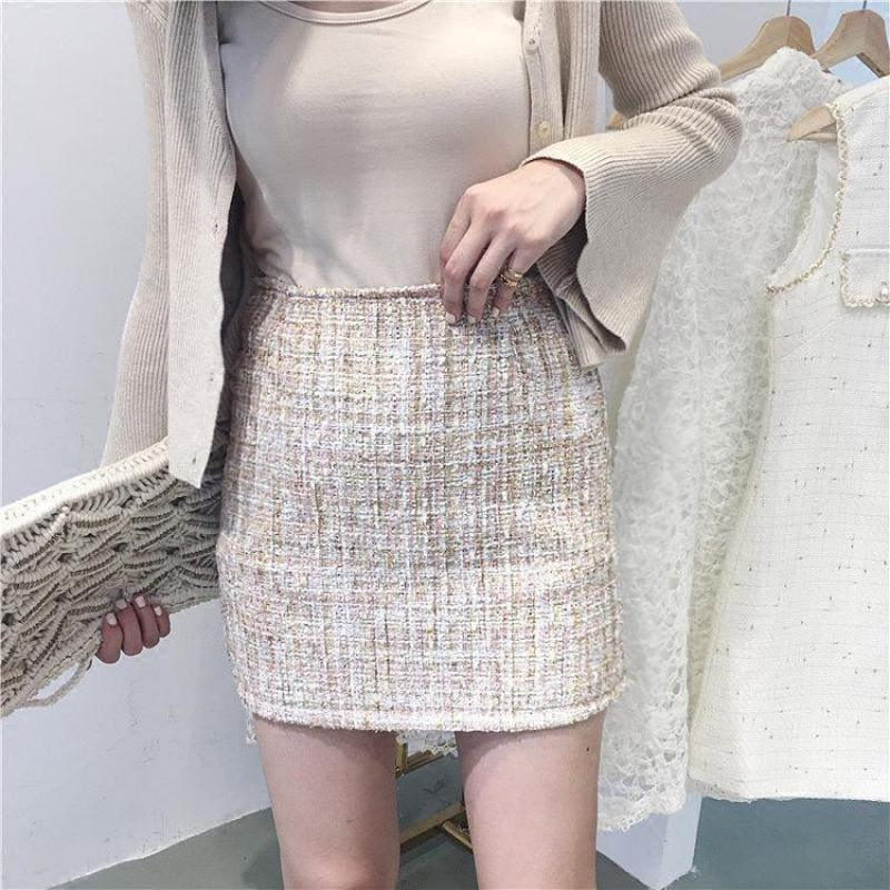 Fresh Style Sequins Tweed Pencil Skirt High Waist Mini Skirt - TeresaCollections