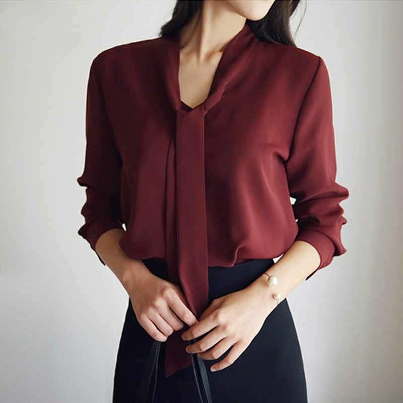 Front Tie Loose Chiffon Solid Color Blouse - Short Sleeve