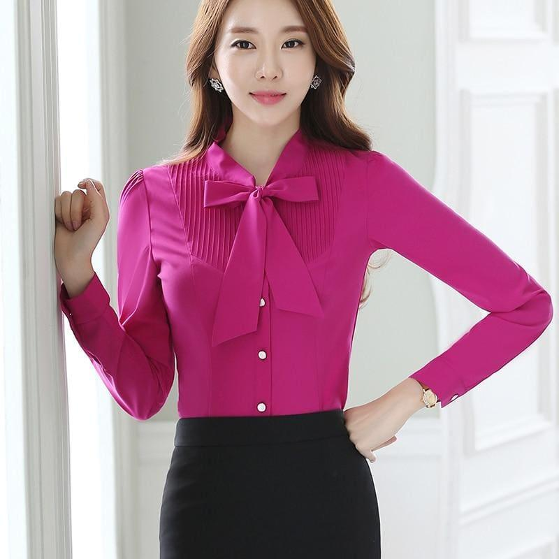 Front Tie Shirts Pleated Blouse Work Weary Bow Female Ruffle Blouse - TeresaCollections