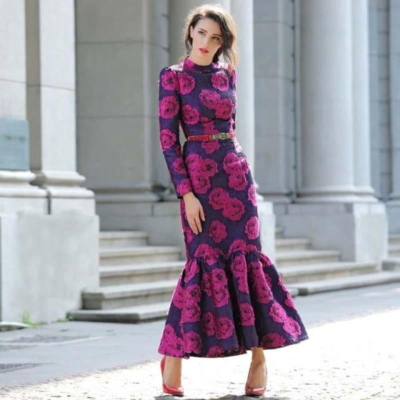 Fuchsia Vintage Flowers Mermaid Long Sleeve Maxi Dress - Purple / S - maxi dress