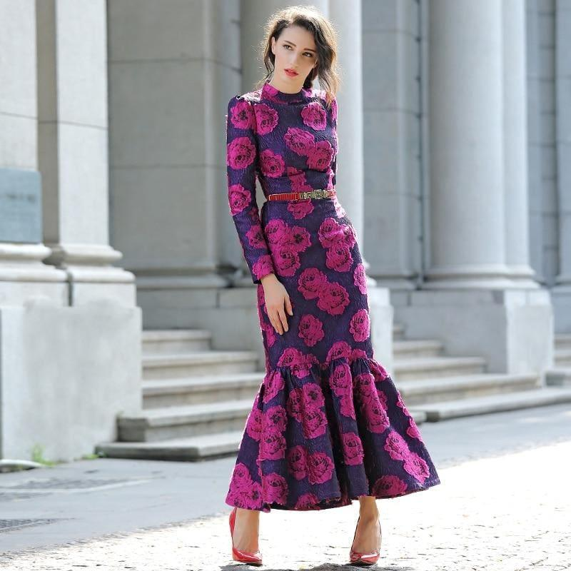 Fuchsia Vintage Flowers Mermaid Long Sleeve Maxi Dress - maxi dress